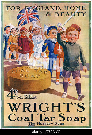 Patriotic soap advertisement from the Great War period depicting a group of soldierly children dressed in paper - Stock Photo