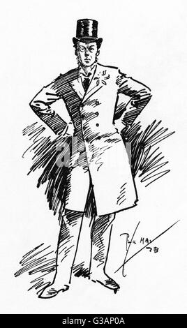 Caricature of Joseph Chamberlain (1836-1914) - British Politician - by Phil May. At this stage, Chamberlain was - Stock Photo