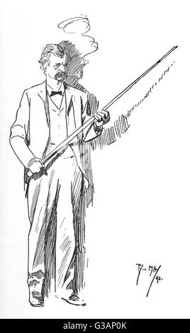 American author and humorist Mark Twain (Samuel Langhorne Clemens) (1835-1910) - smoking his 'inseparable' corn - Stock Photo