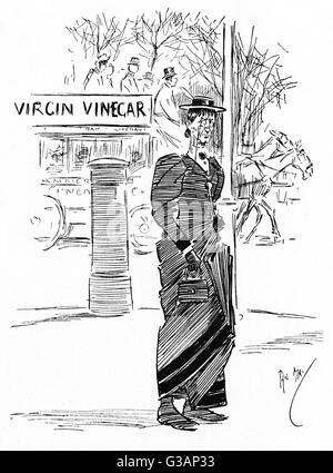 In the Bars and Streets. Cartoon drawing by Phil May depicting a late middle-aged woman with a severe expression, - Stock Photo