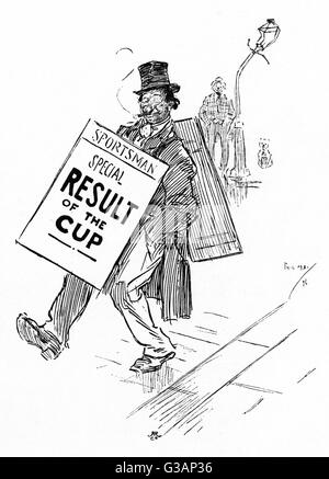 A sandwich board man celebrates the result of the Cup by having a few drinks (and then a few more), leading to his - Stock Photo
