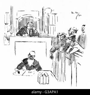 "A Reminiscence of Australia. Bush Magistrate (to visiting Magistrates who have had a wild night) - ""Look here, - Stock Photo"