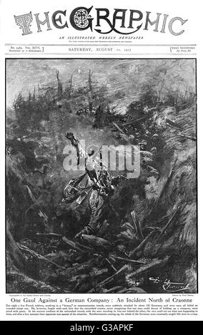 An incident on the Western Front north of Craonne depicted by Paul Thiriat on the Front cover of The Graphic.  A - Stock Photo
