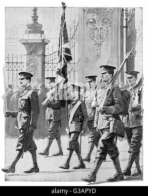 Edward, Prince of Wales (later King Edward VIII, then Duke of Windsor), parades with his fellow Grenadier Guards - Stock Photo