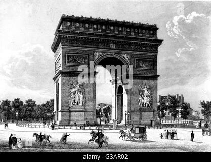 Paris, France - Arc de Triomphe.     Date: circa 1850 - Stock Photo