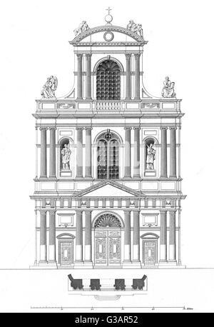 Paris, France - Eglise de Saint Gervais et Saint Protais     Date: 1855 - Stock Photo