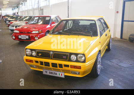 ZAGREB, CROATIA - JUNE 4, 2016 : A Lancia Delta oldtimer automobile exhibited at Fast and furious street race in - Stock Photo