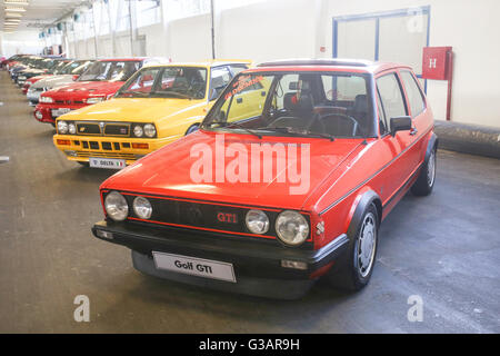 A Volkswagen Golf GTI Mark Two oldtimer automobile exhibited at Fast and furious street race in Zagreb, Croatia. - Stock Photo