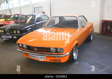 An Opel Manta 1973 oldtimer automobile exhibited at Fast and furious street race in Zagreb, Croatia. - Stock Photo