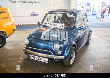 ZAGREB, CROATIA - JUNE 4, 2016 : A Fiat 500 from 1970 year exhibited at Fast and furious street race in Zagreb, - Stock Photo