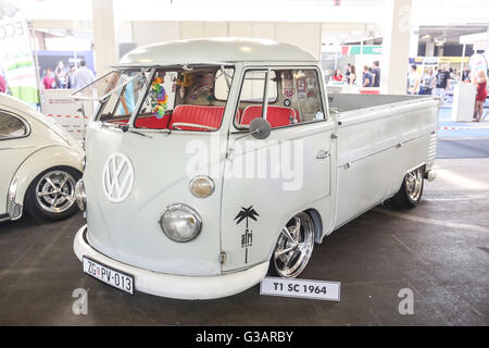 ZAGREB, CROATIA - JUNE 4, 2016 : A Volkswagen T1 SC 1964 exhibited at Fast and furious street race in Zagreb, Croatia. - Stock Photo