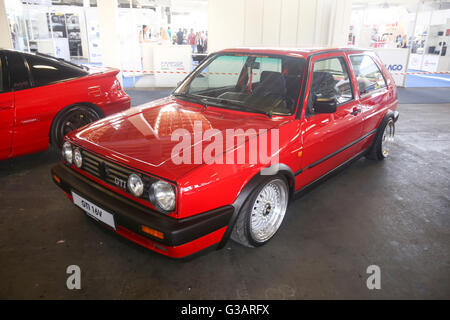 A Volkswagen Golf Mark Two GTI 16V oldtimer automobile exhibited at Fast and furious street race in Zagreb, Croatia. - Stock Photo