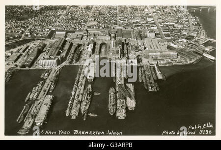 Aerial view of US Navy Yard, Bremerton, Washington State, USA. - Stock Photo
