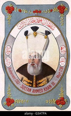 Ahmed III (16731736) - Sultan of the Ottoman Empire and a son of Sultan Mehmed IV.     Date: circa 1730 - Stock Photo