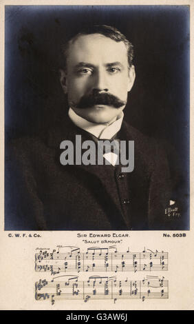 English Composer Sir Edward Elgar (1857-1934) and musical score to Salut D'Amour.     Date: 1905 - Stock Photo