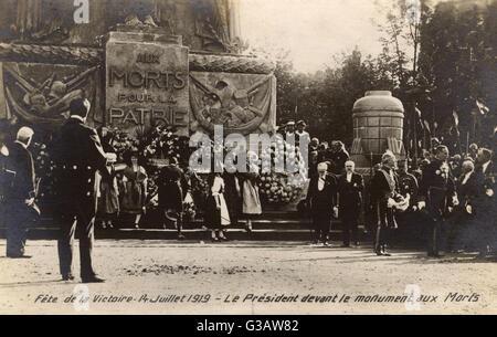 Fete de la Victoire, 14th July 1919 - Paris, France - The President of France, Raymond Poincare (1860-1934), pictured - Stock Photo