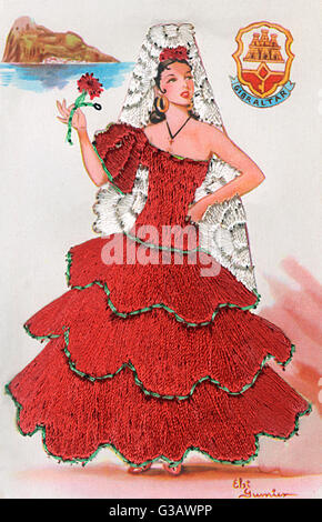 Spanish lady in a red dress and white lace veil on a greetings card, Gibraltar.      Date: 20th century - Stock Photo
