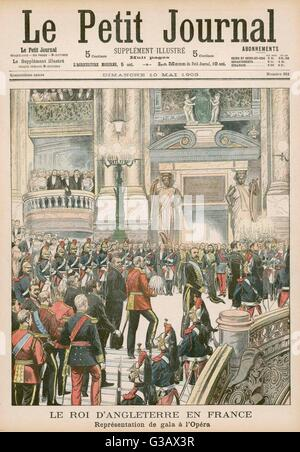 EDWARD VII  Visiting the Paris Opera        Date: 1903 - Stock Photo