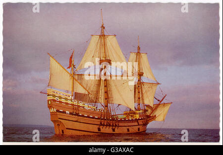 Model of the ship which  carried the 'Pilgrim Fathers'  from Europe to the New World        Date: 1620 - Stock Photo
