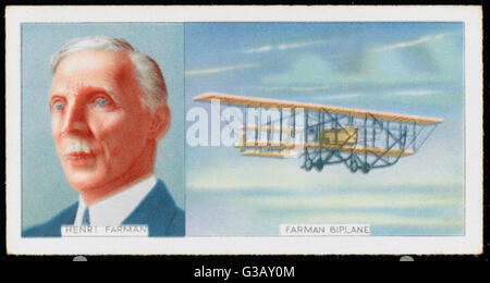 Henri Farman, French aviator,  and his Farman Biplane, which  he developed with his brother  Maurice      Date: - Stock Photo