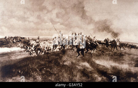 German Uhlan cavalry attack  a Russian baggage-convoy         Date: 1915 - Stock Photo