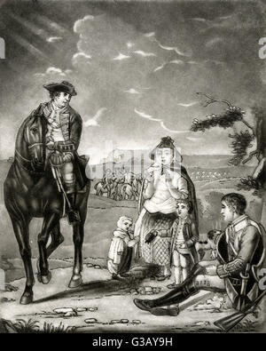 John Manners, marquis of  GRANBY military commander, depicted  in the act of relieving the  distress of a poor soldier - Stock Photo