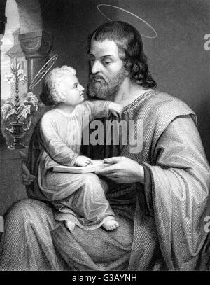 SAINT JOSEPH  with his son Jesus        Date: 1st century - Stock Photo