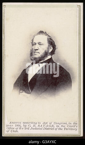 BRIGHAM YOUNG (1801 - 1877) Mormon leader, photographed in June 1866       Date: June 1866 - Stock Photo