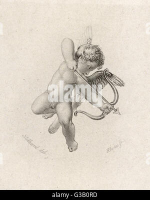 The Greek god of love : his  Roman equivalent is CUPID.   Here he is pointing a bow and  arrow at a victim. - Stock Photo