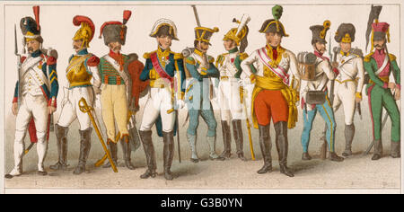 Austrian soldiers  and officers (7-10)        Date: 18th century - Stock Photo