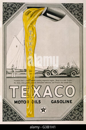 Texaco motor oils and gasoline        Date: 1904 - Stock Photo