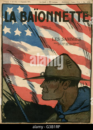 Front cover design, La Baionnette, an issue focusing on the 'Sammies' (Americans) entering the war.  Showing an - Stock Photo