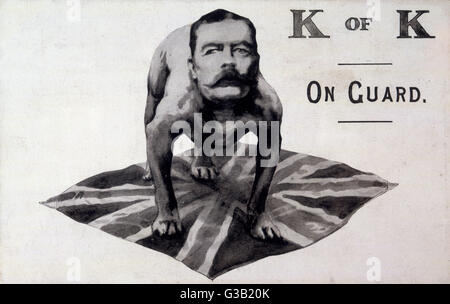 Kitchener as a British  bulldog guarding the flag        Date: 1914-18 - Stock Photo