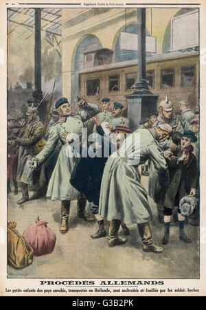 Children evacuated to Holland  are roughly treated by German  soldiers       Date: January 1917 - Stock Photo