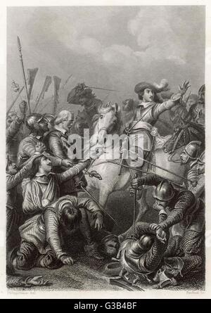 BATTLE OF ROCROI Louis II Conde ('the Great  Conde') rallies the French and  defeats the Spanish under Don  Francisco - Stock Photo