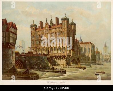 London Bridge with Nonsuch House, as it looked in the 17th century       Date: 17th century - Stock Photo