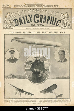 Front page of the DAILY  GRAPHIC bringing readers  news  of 'the most brilliant air  feat of the war' - the downing - Stock Photo