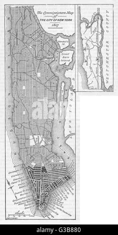 New York:  an early 19th century plan of the city       Date: 1807 - Stock Photo