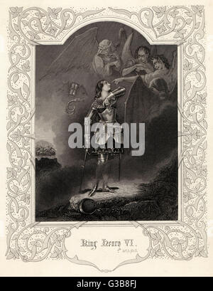Act V, Scene III (Part I) Joan la Pucelle (Jeanne  D'Arc), commands the spirits  to appear      Date: Nineteenth - Stock Photo