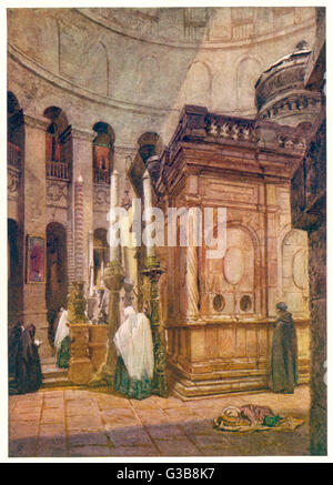Jerusalem:  inside the church of the Holy Sepulchre       Date: 1901 - Stock Photo