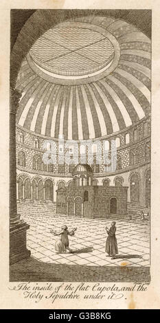 Jerusalem:  Church of the Holy Sepulchre,  interior view, showing the inside of the flat cupola, and the Holy Sepulchre - Stock Photo