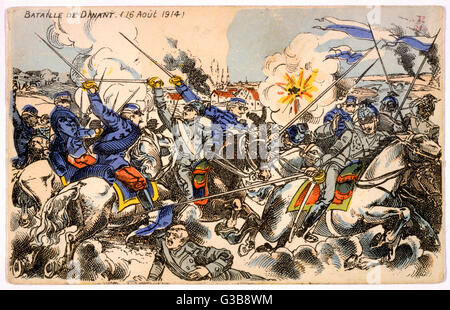 DINANT, Belgium French cavalry resist the  German invasion, but are  forced to retreat : the  fighting is followed - Stock Photo
