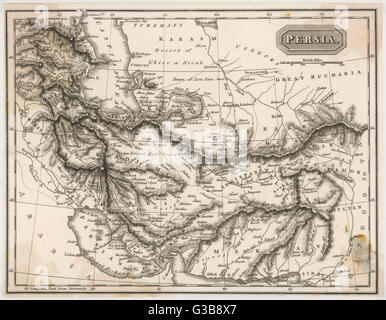 Map of Persia (Iran)         Date: 19th century - Stock Photo