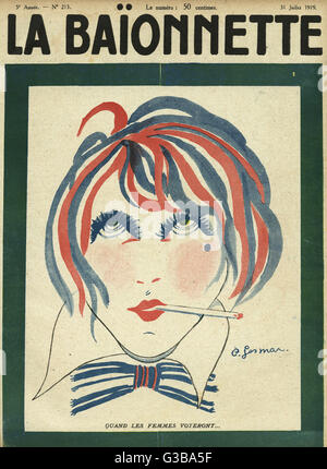 Front cover design, La Baionnette, looking forward to the time when women get the vote.      Date: 1919 - Stock Photo