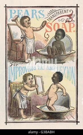 An advertisement for Pear's  soap where a small black boy's  colour washes off.       Date: 1885 - Stock Photo