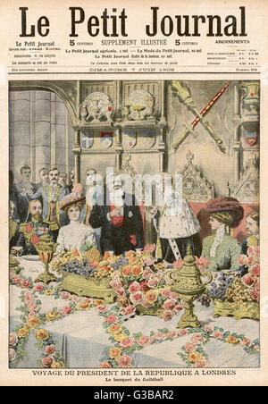 The Lord Mayor of London  invites French President  Fallieres to dine at his  Guildhall banquet.       Date: 1908 - Stock Photo