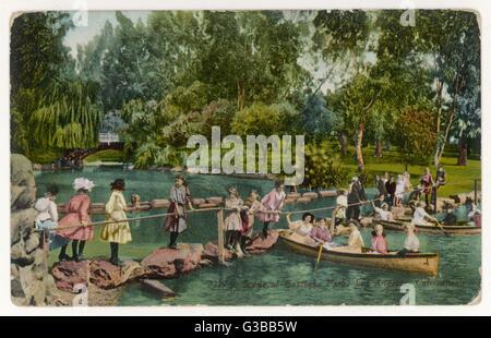 Children enjoying themselves in Eastlake Park, Los Angeles,  California       Date: circa 1910 - Stock Photo