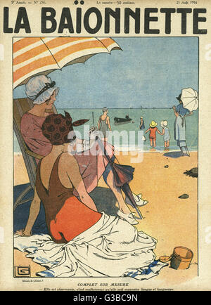 Front cover design, La Baionnette.  On the beach the favourite  occupation is watching other people: one lady watches - Stock Photo
