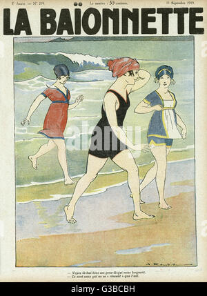 Front cover design, La Baionnette, showing three bathers emerging  from the sea, aware that people are watching - Stock Photo
