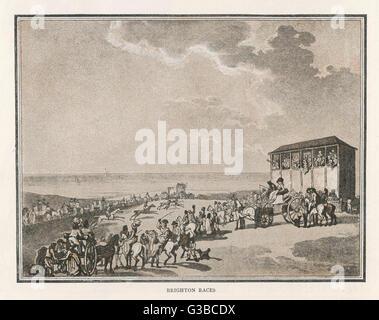 A scene at Brighton  racecourse.        Date: 1789 - Stock Photo